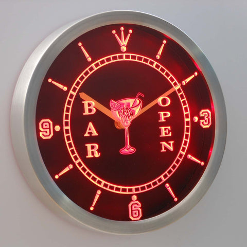 Image of Cocktail Bar Open LED Neon Wall Clock - Red - SafeSpecial