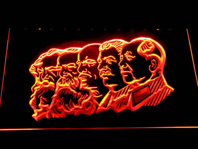 Communist Leaders LED Neon Sign - Orange - SafeSpecial