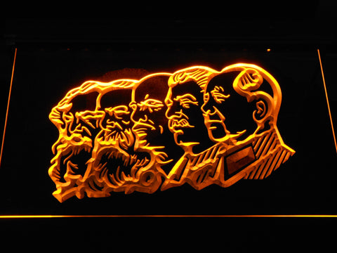 Communist Leaders LED Neon Sign - Yellow - SafeSpecial