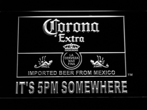 Corona Extra It's 5pm Somewhere LED Neon Sign - White - SafeSpecial