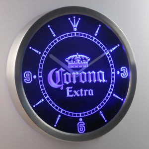 Corona Extra LED Neon Wall Clock - Blue - SafeSpecial