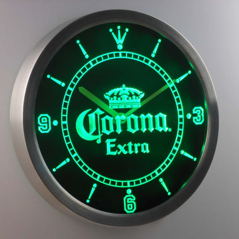 Image of Corona Extra LED Neon Wall Clock - Green - SafeSpecial