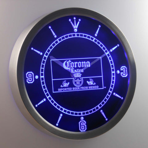 Image of Corona Extra Mexico LED Neon Wall Clock - Blue - SafeSpecial