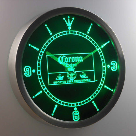 Image of Corona Extra Mexico LED Neon Wall Clock - Green - SafeSpecial