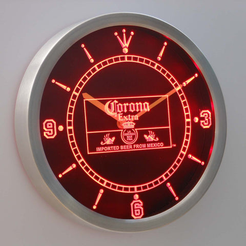Image of Corona Extra Mexico LED Neon Wall Clock - Red - SafeSpecial
