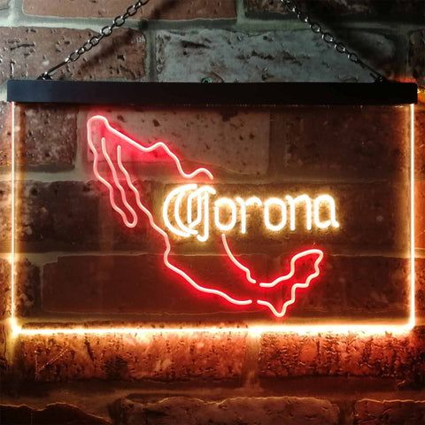 Corona Extra - Mexico Map Neon-Like LED Sign - Dual Color