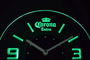 Corona Extra Modern LED Neon Wall Clock - Green - SafeSpecial