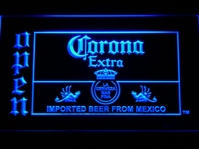 Corona Extra Open LED Neon Sign - Blue - SafeSpecial