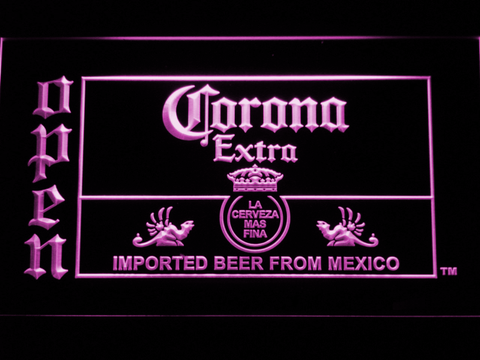 Image of Corona Extra Open LED Neon Sign - Purple - SafeSpecial