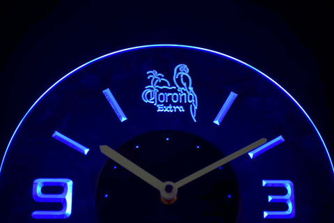 Image of Corona Extra Parrot Modern LED Neon Wall Clock - Blue - SafeSpecial