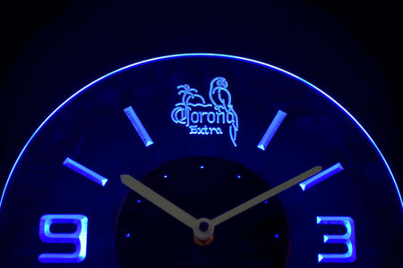 Corona Extra Parrot Modern LED Neon Wall Clock - Blue - SafeSpecial