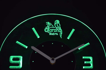 Corona Extra Parrot Modern LED Neon Wall Clock - Green - SafeSpecial