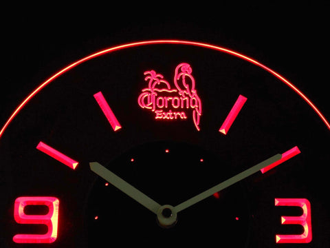 Image of Corona Extra Parrot Modern LED Neon Wall Clock - Red - SafeSpecial