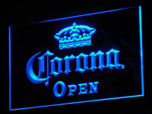 Corona Open LED Neon Sign - Blue - SafeSpecial