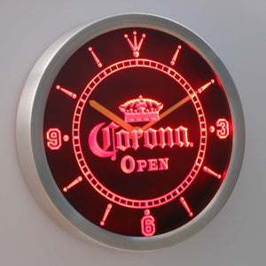 Corona Open LED Neon Wall Clock - Red - SafeSpecial