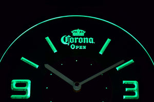 Corona Open Modern LED Neon Wall Clock - Green - SafeSpecial