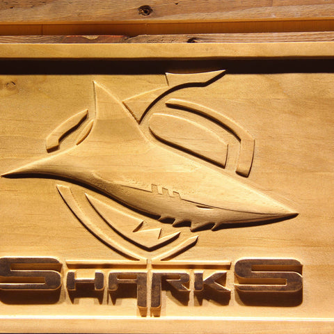 Image of Cronulla-Sutherland Sharks Wooden Sign - - SafeSpecial