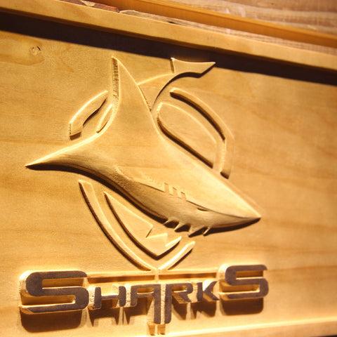 Cronulla-Sutherland Sharks Wooden Sign - - SafeSpecial