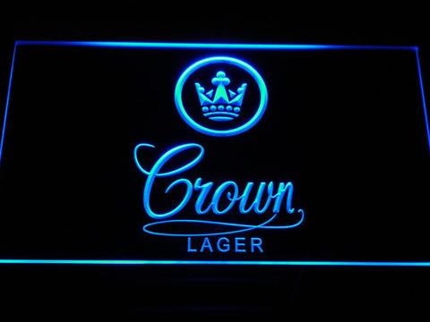 Crown Lager LED Neon Sign - Blue - SafeSpecial