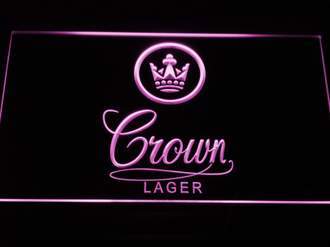 Crown Lager LED Neon Sign - Purple - SafeSpecial