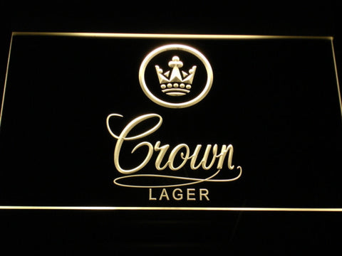 Crown Lager LED Neon Sign - Yellow - SafeSpecial