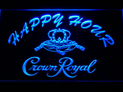 Crown Royal Happy Hour LED Neon Sign - Blue - SafeSpecial