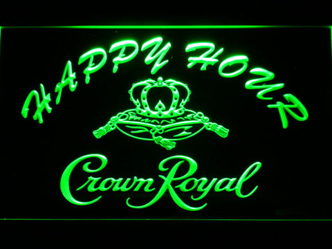 Image of Crown Royal Happy Hour LED Neon Sign - Green - SafeSpecial
