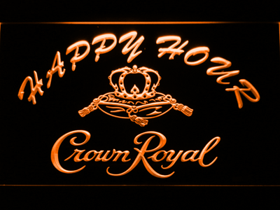 Crown Royal Happy Hour LED Neon Sign - Orange - SafeSpecial