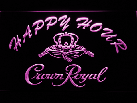 Image of Crown Royal Happy Hour LED Neon Sign - Purple - SafeSpecial
