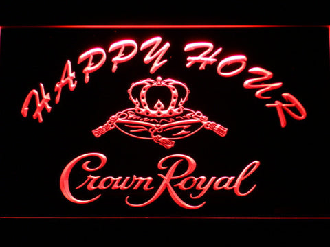 Image of Crown Royal Happy Hour LED Neon Sign - Red - SafeSpecial