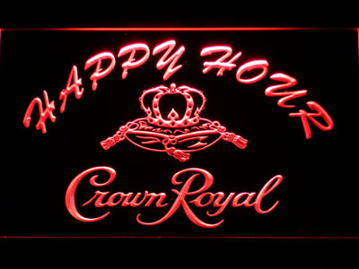 Crown Royal Happy Hour LED Neon Sign - Red - SafeSpecial