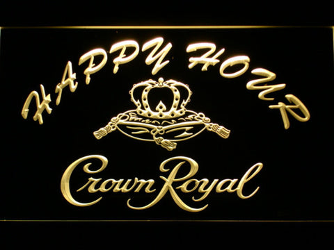 Image of Crown Royal Happy Hour LED Neon Sign - Yellow - SafeSpecial