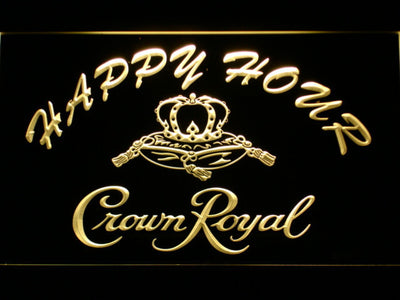 Crown Royal Happy Hour LED Neon Sign - Yellow - SafeSpecial