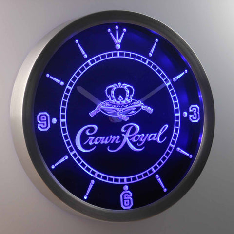 Image of Crown Royal LED Neon Wall Clock - Blue - SafeSpecial