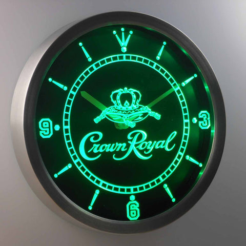 Crown Royal LED Neon Wall Clock - Green - SafeSpecial