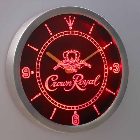 Crown Royal LED Neon Wall Clock - Red - SafeSpecial