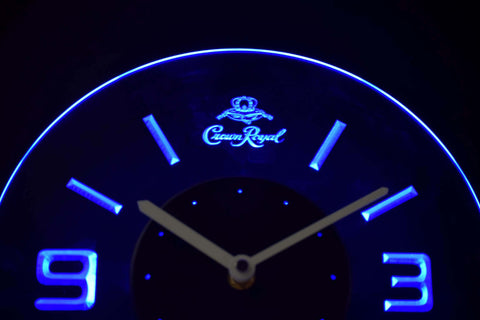 Image of Crown Royal Modern LED Neon Wall Clock - Blue - SafeSpecial