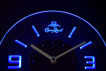 Crown Royal Modern LED Neon Wall Clock - Blue - SafeSpecial