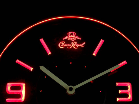 Crown Royal Modern LED Neon Wall Clock - Red - SafeSpecial