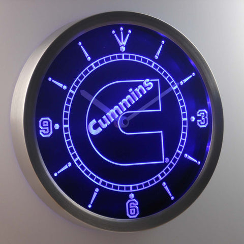 Cummins LED Neon Wall Clock - Blue - SafeSpecial