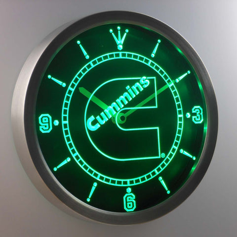 Cummins LED Neon Wall Clock - Green - SafeSpecial