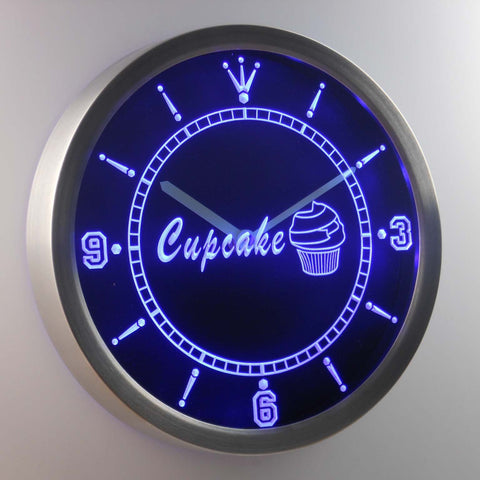Cupcake LED Neon Wall Clock - Blue - SafeSpecial