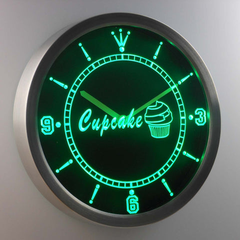 Cupcake LED Neon Wall Clock - Green - SafeSpecial