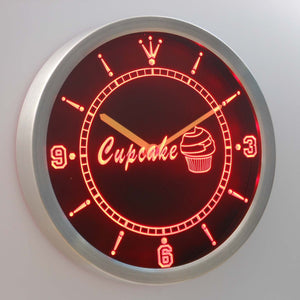 Cupcake LED Neon Wall Clock - Red - SafeSpecial