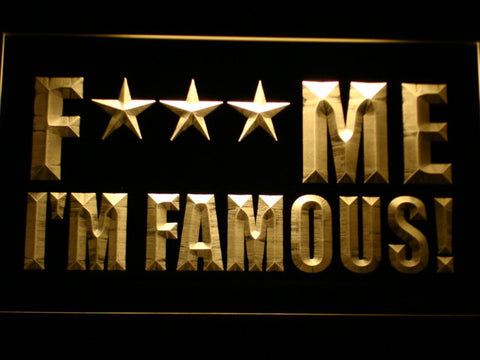 David Guetta F*** Me I'm Famous! LED Neon Sign - Yellow - SafeSpecial