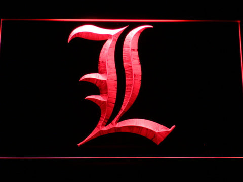 Image of Death Note L LED Neon Sign - Red - SafeSpecial