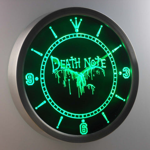 Image of Death Note Ryuk LED Neon Wall Clock - Green - SafeSpecial