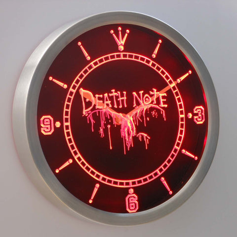 Image of Death Note Ryuk LED Neon Wall Clock - Red - SafeSpecial