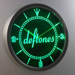 Deftones LED Neon Wall Clock - Green - SafeSpecial