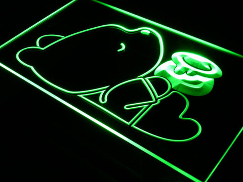 Image of Disney Babies Winnie The Pooh with Honey Jar LED Neon Sign - Green - SafeSpecial